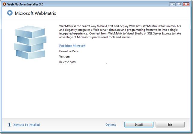 Порядок установки WebMatrix