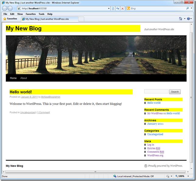В браузере, вы увидите, что цвет фона все заголовки изменилось
